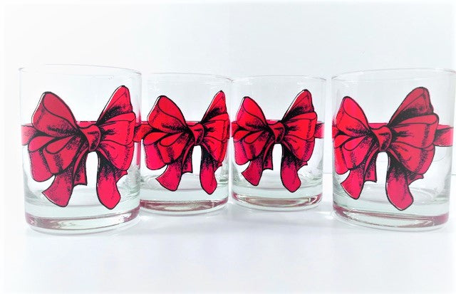 Cera Signed Mid-Century Red Ribbon Double Old Fashion Glasses (Set of 4)