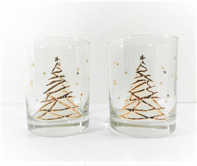 Culver Signed Mid-Century Golden Christmas Tree Double Old Fashion Glasses (Set of 2)