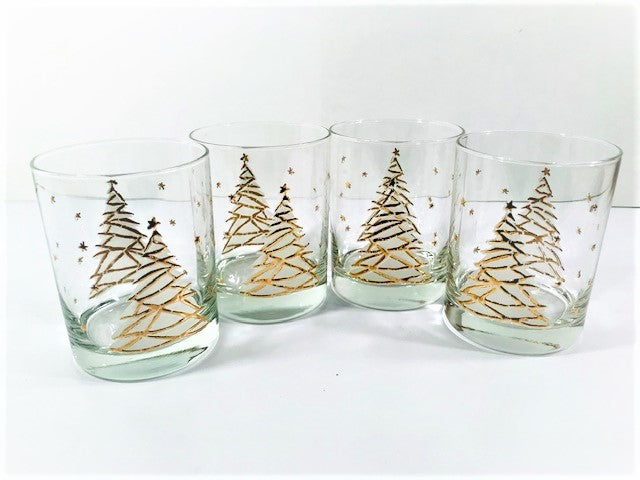Culver Signed Mid-Century Golden Christmas Tree Double Old Fashion Glasses (Set of 4)