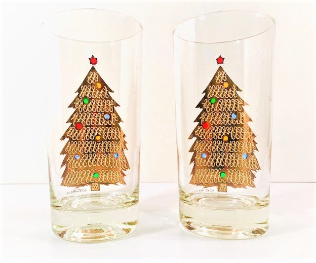 Culver Signed Mid-Century Jeweled Christmas Tree Highball Glasses (Set of 2)