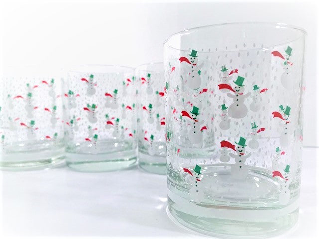 Georges Briard Signed 4-Piece Snowman Double Old Fashion Glasses