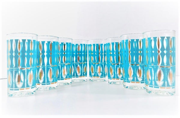 Sears Mid-Century Elegance 22-Karat Gold and Turquoise Highball Glasses (Set of 8)