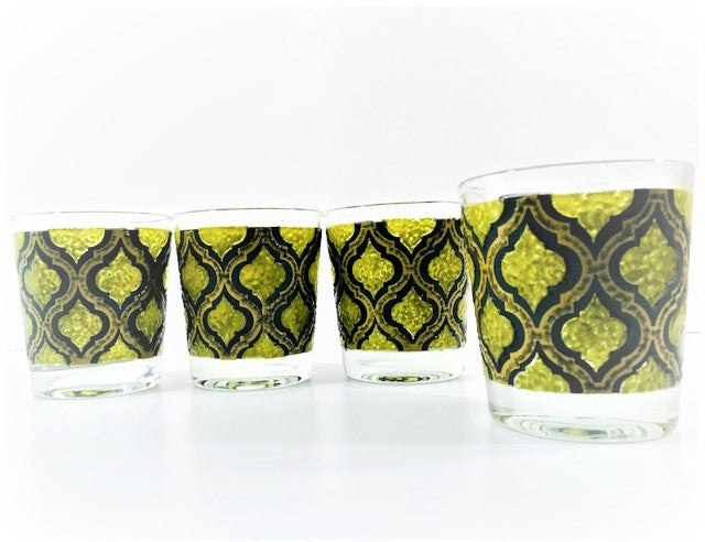 Starlyte Mid-Century Black and Avocado Moroccan Style Glasses (Set of 4)