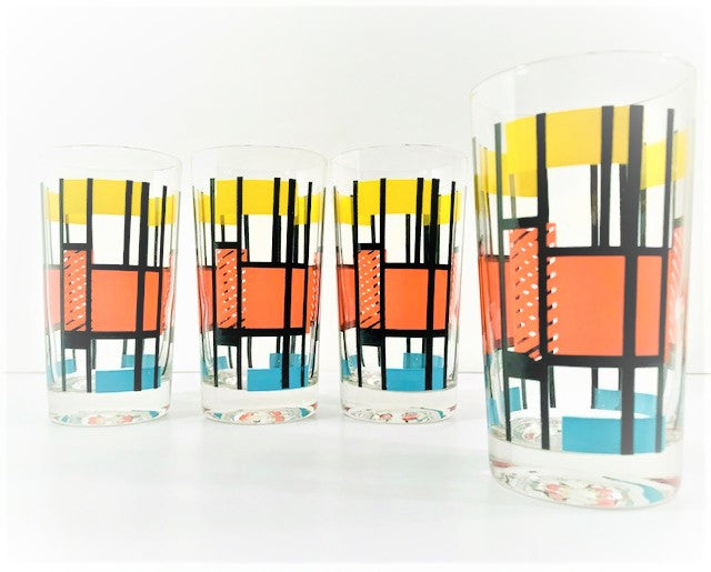 Mid-Century Color Block Mod Glasses (Set of 4)