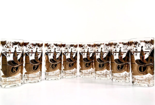 Georges Briard Signed Mid-Century Kentucky Derby Complete 8-Piece Set