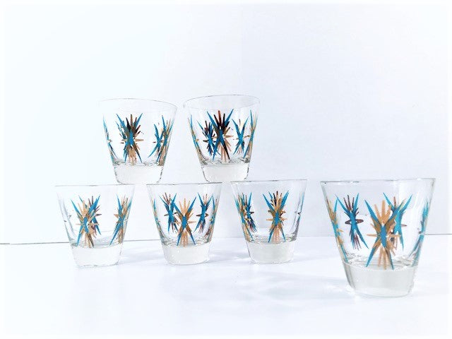 Federal Glass Atomic Turquoise and 22-Karat Gold Starburst Shot Glasses (Set of 6)