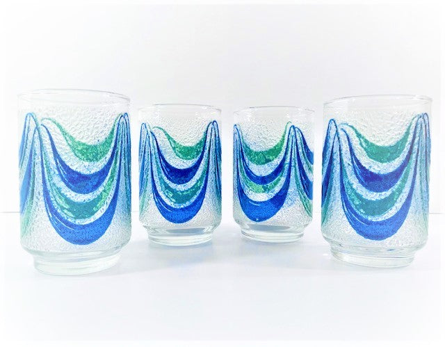 Libbey Mid-Century Green and Blue Swag Glasses (Set of 4)