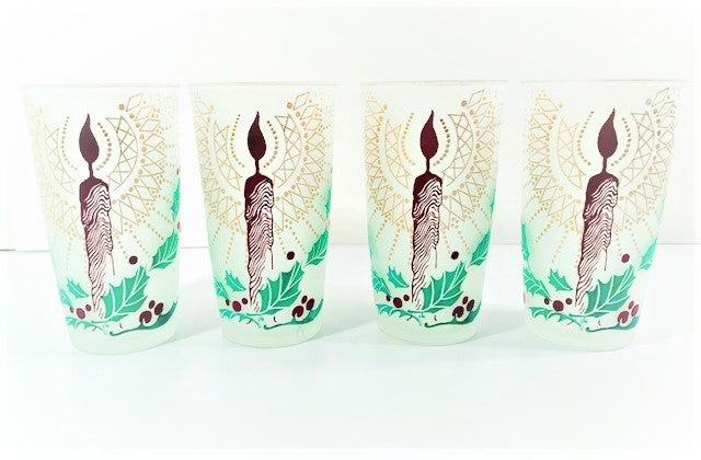 Vintage Frosted Holiday Candle Glasses (Set of 4)