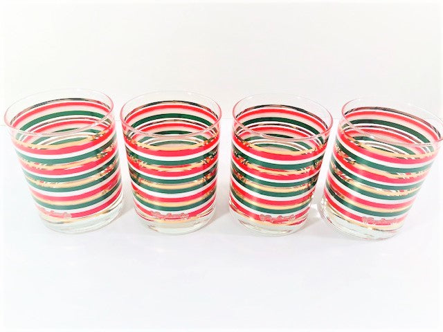 Georges Briard Signed Holiday Striped Double Old Fashion Glasses (Set of 4)