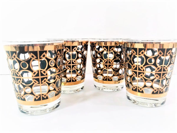 Mid-Century 22-Karat Gold and Black Mod Circles Double Old Fashion Glasses (Set of 4)