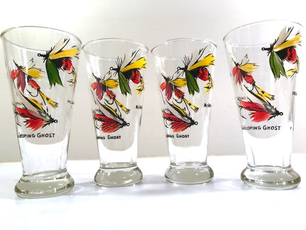 Vintage Fly Fishing Lures Pilsner Glasses (Set of 4)