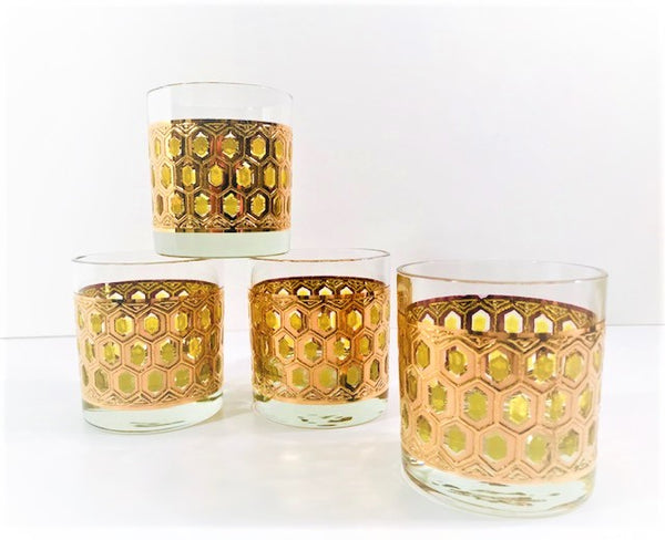 Hollywood Regency 22-Karat Gold and Green Old Fashion Glasses (Set of 4)
