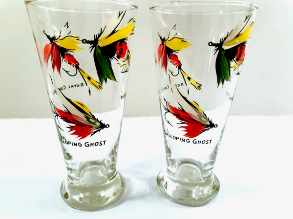 Vintage Fly Fishing Lures Pilsner Glasses (Set of 2)
