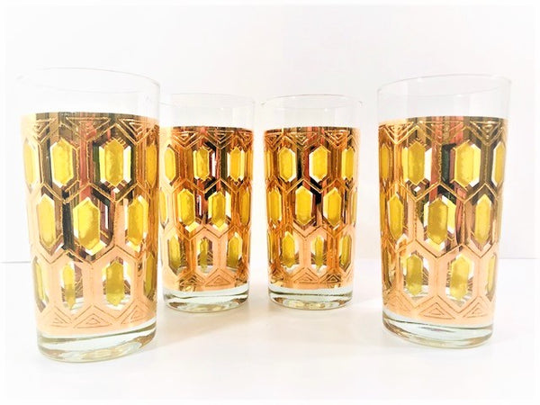 Hollywood Regency 22-Karat Gold and Green Highball Glasses (Set of 4)