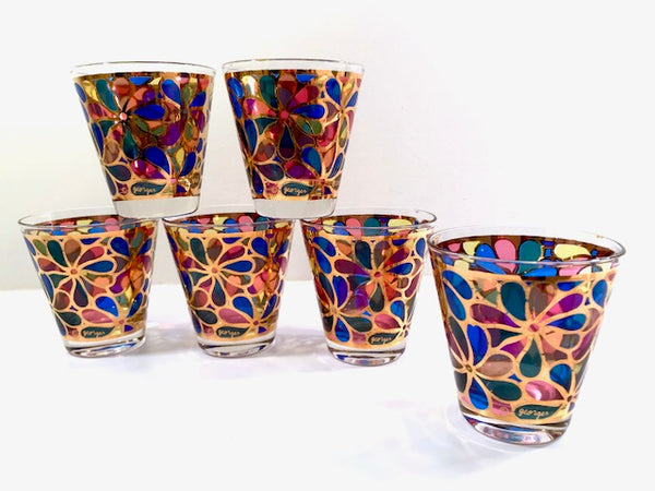 Georges Briard Signed Mid-Century Rainbow Flower Power Glasses (Set of 6)