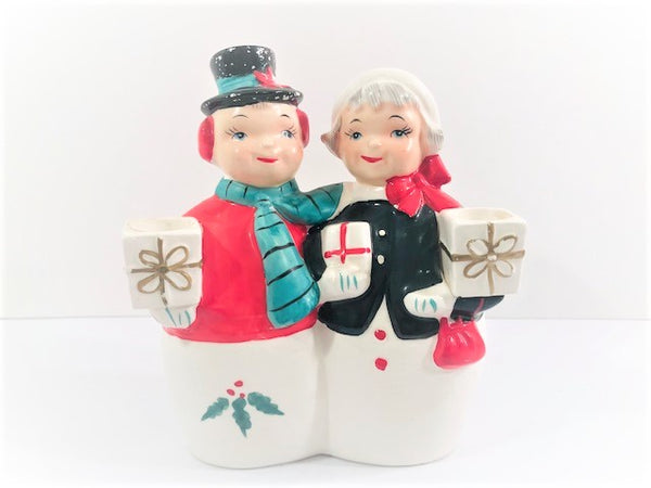 UCAGCO Japan Mr. and Mrs. Snowman Candle Holder