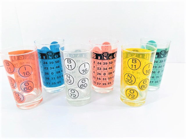 Caprice Glass Mid-Century BINGO Glasses (Set of 6)