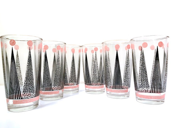 Hazel Atlas Mid-Century Pink and Black Crown Glasses (Set of 6)