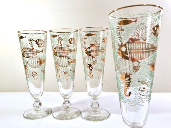 Libbey Mid-Century Marine Life Pilsner/Champagne Glasses (Set of 4)