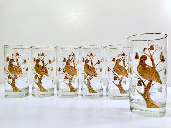 Vintage Golden Partridge In A Pear Tree Glasses (Set of 6)