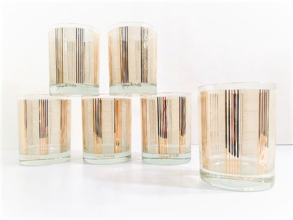 Georges Briard Signed Gold and White Abstract Double Old Fashion Glasses (Set of 6)