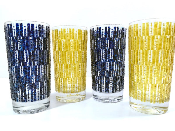 Fred Press Signed Mid-Century Ice Glasses (Set of 4)
