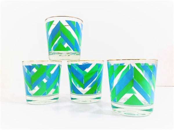 Retro Blue and Green Arrow Glasses (Set of 4)