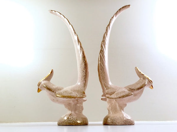 Mid-Century Pink and Gold Console Birds