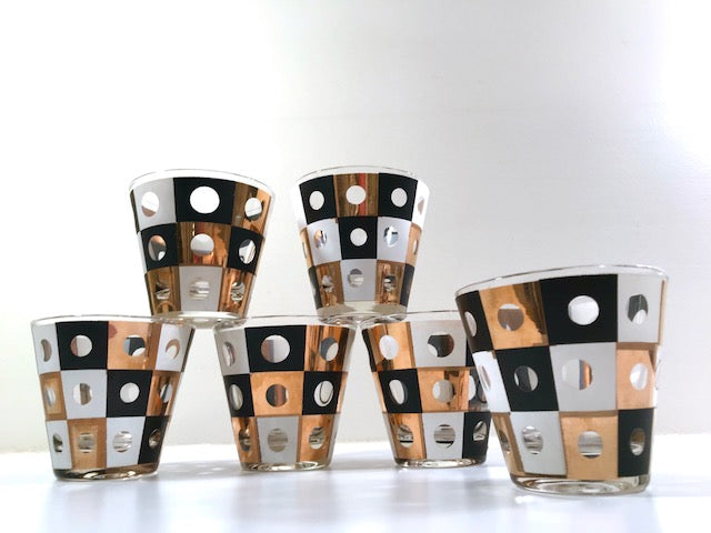 Mid-Century Black White and 22-Karat Gold Square With Circles Old Fashion Glasses (Set of 6)