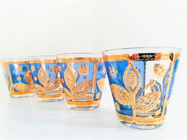 Culver Signed Mid-Century Blue and 22-Karat Gold Leaf Glasses (Set of 4)
