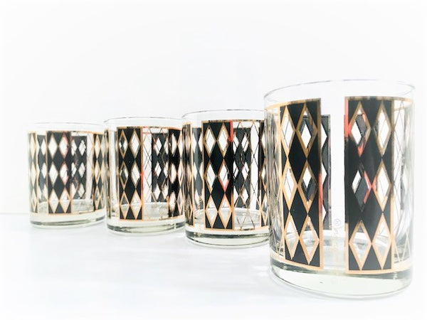Georges Briard Signed Gold and Black Harlequin Double Old Fashion Glasses (Set of 4)