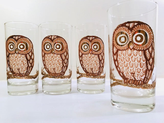 Georges Briard Signed Vintage Retro Owl Highball Glasses (Set of 4)