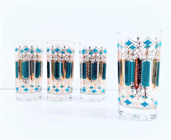 Mid-Century Green, Turquoise and 22-Karat Gold Highball Glasses (Set of 4)