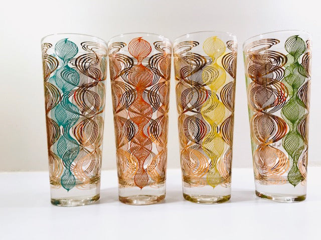 Gay Fad Signed Atomic Swirl Tall Collins Glasses (Set of 4)