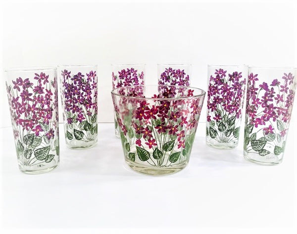 Cera Signed Mid-Century Hand Painted Violets 7 Piece Set