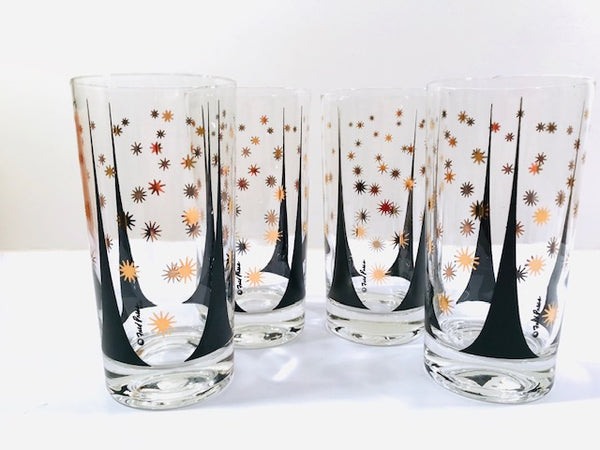 Fred Press Signed Mid-Century Black and 22-Karat Gold Atomic Triangles and Starburst Highball Glasses (Set of 4)