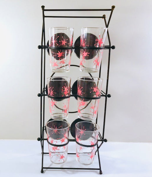 Federal Glass Mid-Century Pink Atomic Starburst Glasses with Tipsy Tim Carrier (Set of 6 with Carrier)