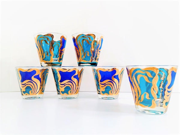 Georges Briard Signed Mid-Century Art Nouveau Old Fashion Glasses (Set of 6)