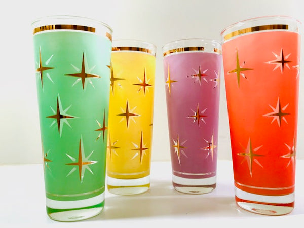 Mid-Century Atomic North Star Tall Collins Cocktail Glasses (Set of 4)