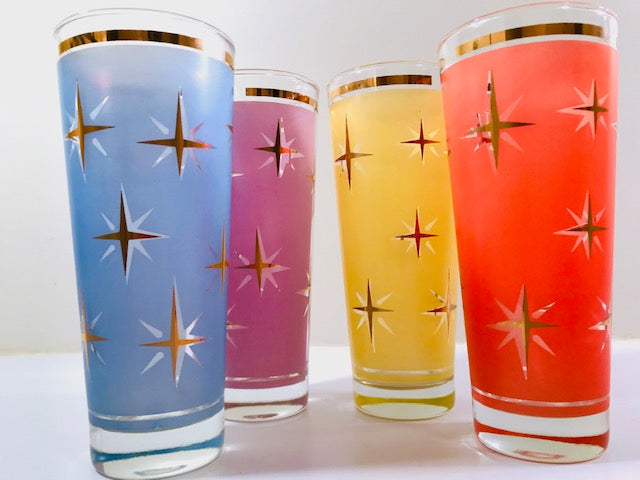 Bartlett Collins Mid-Century Atomic North Star Tall Collins Cocktail Glasses (Set of 4)