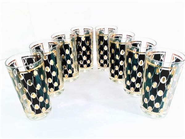 Hazel Atlas Mid-Century Black and Gold Party Pretty Glasses (Set of 8)
