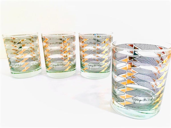 Georges Briard Signed Gold Triangle Black Stripes Double Old Fashion Glasses (Set of 4)