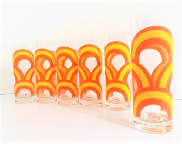 Colony Signed Yellow and Orange Retro Swirl Tall Collins Glasses (Set of 6)