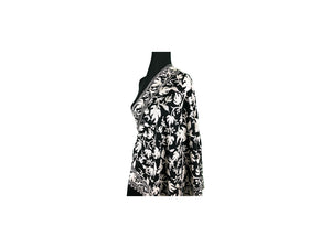 Anjum Wool Black Full White Aari Embroidery Stole from Kashmir