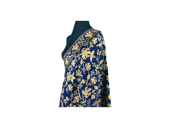 Anjum Wool Dark Blue Full Gold Aari Embroidery Stole from Kashmir
