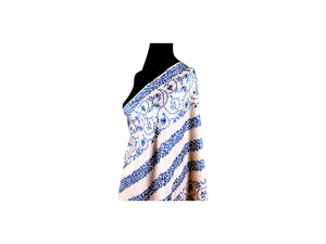 Abeel Pashmina Peach with Blue Boarders and Strips Aari Embroidery Stole from Kashmir