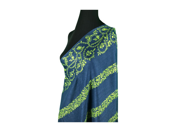 Abeel Pashmina Deep Blue with Sea Green Stole Boarder and Strips Aari Embroidery Stole from Kashmir