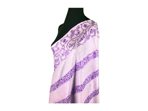 Abeel Pashmina Lavendar with Purple Stole Boarder and Strips Aari Embroidery Stole from Kashmir