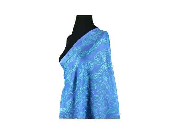 Abeel Pashmina Blue with Light Blue Stole Boarder and Strips Aari Embroidery Stole from Kashmir