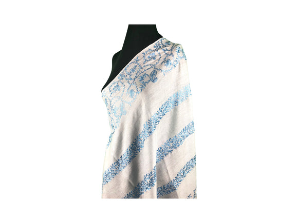 Abeel Pashmina Silver with Blue Stole Boarder and Strips Aari Embroidery Stole from Kashmir